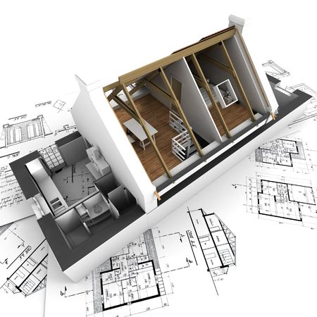 3D rendering of a roofless house on top of architect plans Stock Photo