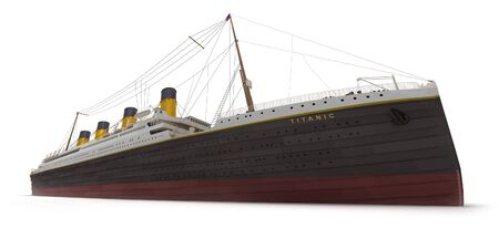 titanic: Side view of 3D rendering of the Titanic