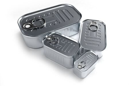 sardine: Tin cans in different sizes Stock Photo