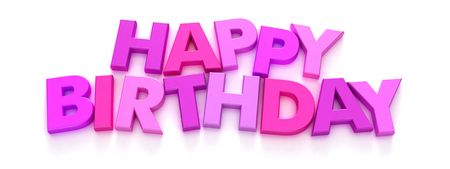Happy Birthday formed with pink and purple capital letter magnets on neutral background photo