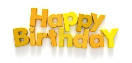 Happy Birthday formed with yellow letter magnets on neutral background photo