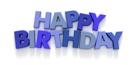 Happy Birthday formed with capital letter magnets in shades of blue on neutral background photo