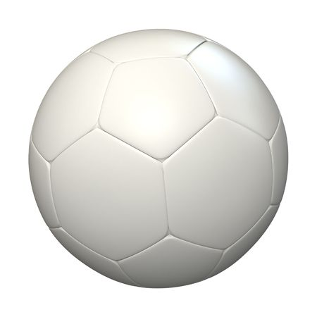 futbol: 3D rendering of a white soccer ball against a white background