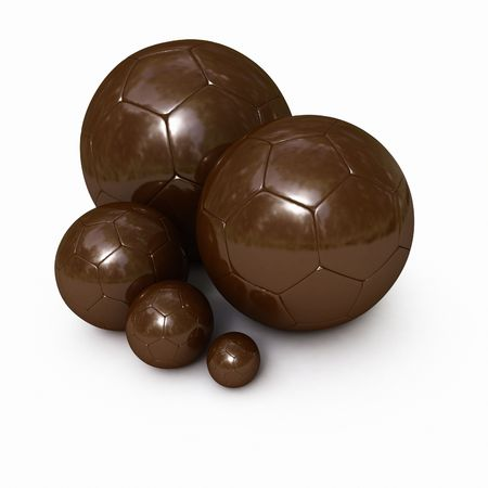 indulgence: 3D rendering of different sizes of football balls made of chocolate