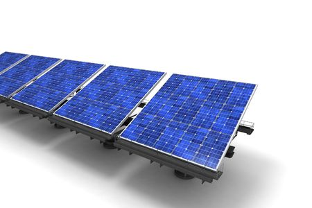collectors: Row of blue solar panels against a white background