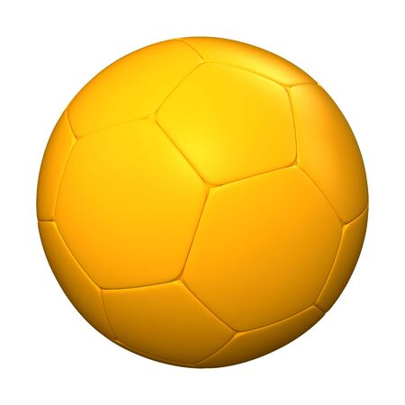 futbol soccer: 3D rendering of a yellow soccer ball against a white background