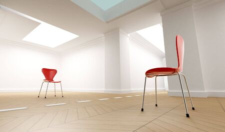 3D rendering of two confronting red chairs on a white room divided by a discontinuous line photo