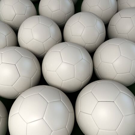 futbol soccer: Lots of white soccer balls together forming a background Stock Photo