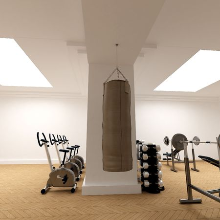 3D-rendering of a gymnasium focusing on a punching bag photo