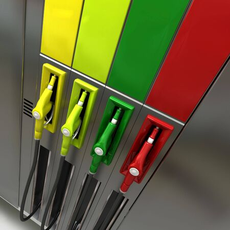 3D rendering of four brightly colored gas pumps with empty labels photo