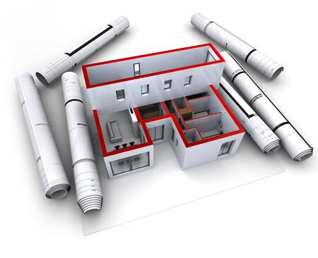 housing plan: Architectural model of a designer's house with rolled-up blueprints Stock Photo