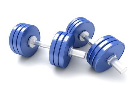 gymnasium: 3D-rendering of a pair of blue dumbbells against a white background