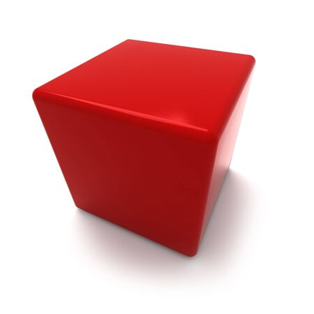 pouf: 3D rendering of a red cube on a white background Stock Photo