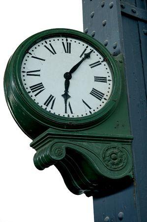 estacion de tren: Un viejo reloj de la estaci�n de tren  Foto de archivo