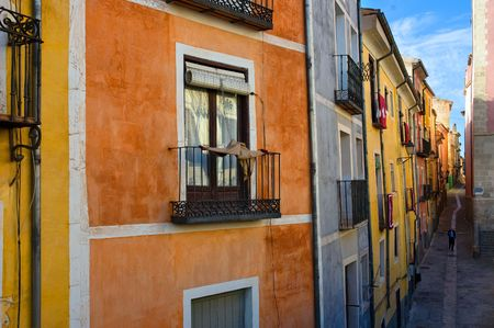 cuenca: Differently colored fa�ades of Cuenca, Spain