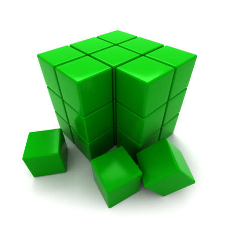 untidy: Green blocks in the process of creating a big cube