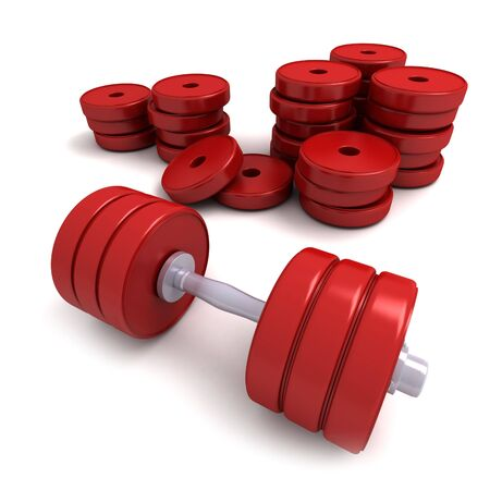 cor: 3D-rendering of red dumbbells and a pile of weights lying on a white d�cor