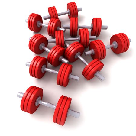 gymnasium: 3D rendering of a group of red dumbbells against a white background