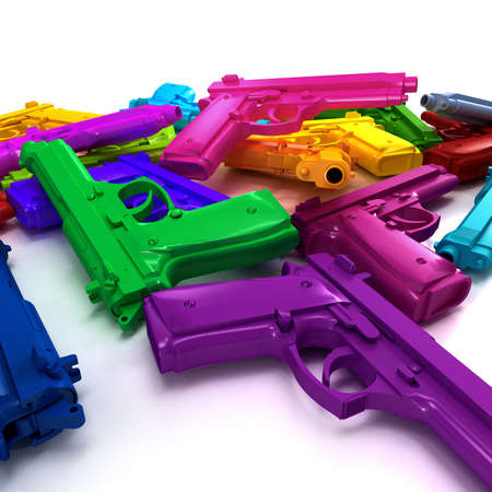 arsenal: Close-up shot of a heap of colourful guns