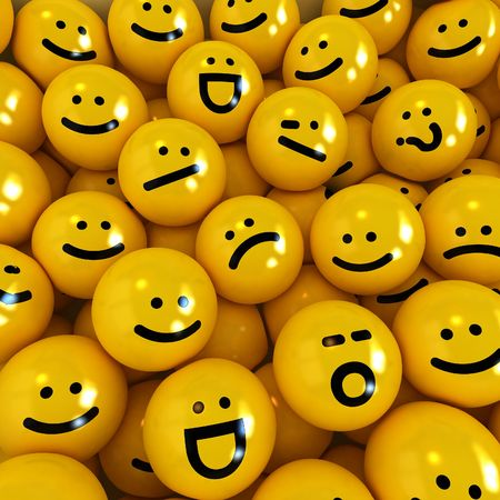 smiley face: 3D rendering of yellow emoticons with different expressions