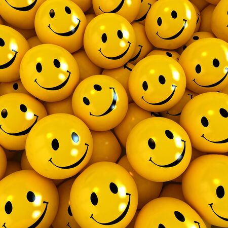 3D rendering of happy yellow faces Stock Photo - 2956031