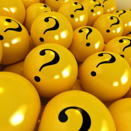 3D rendering of yellow spheres with question marks photo
