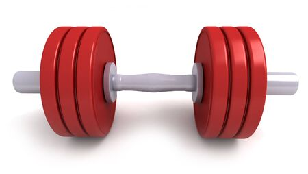 gymnasium: 3D-rendering of red dumbbells against a white background Stock Photo