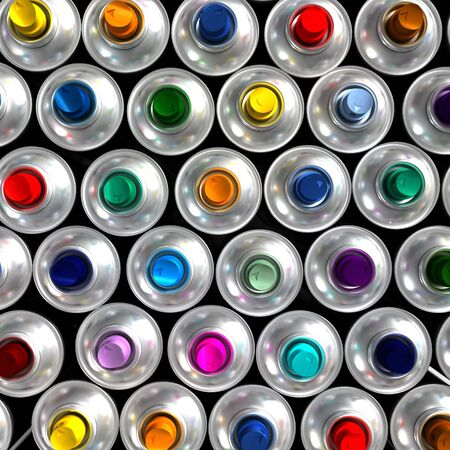 Aerial view of neatly arranged aerosol cans with different colored nozzles Stock Photo