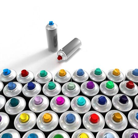 neatly: Neatly arranged aerosol cans and a pair out of the group Stock Photo