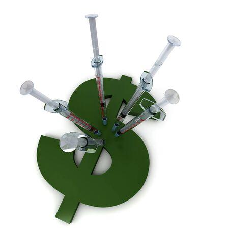 doses: Spuiten geplant op een groene dollar symbool