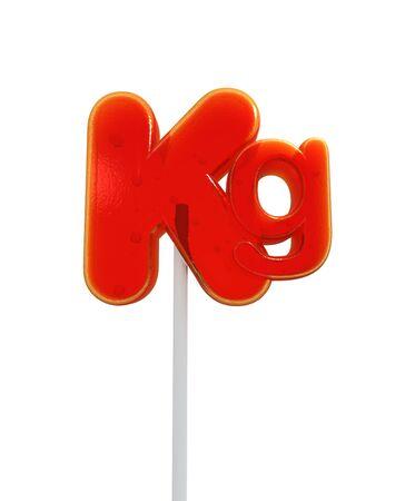 kilo: Lollipop shaped like the kilo symbol Stock Photo