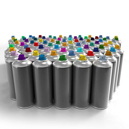 Aerosol spray cans with colorful nozzles Stock Photo