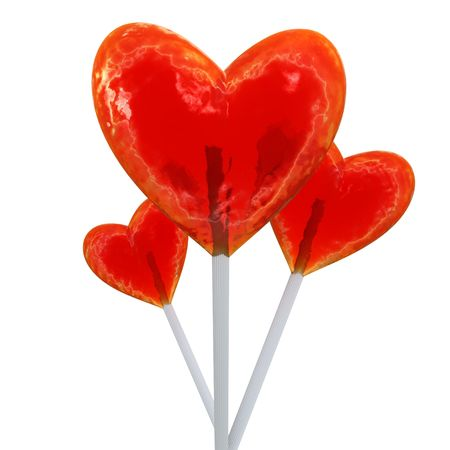 hard love: A trio of heart shaped red lollipops Stock Photo