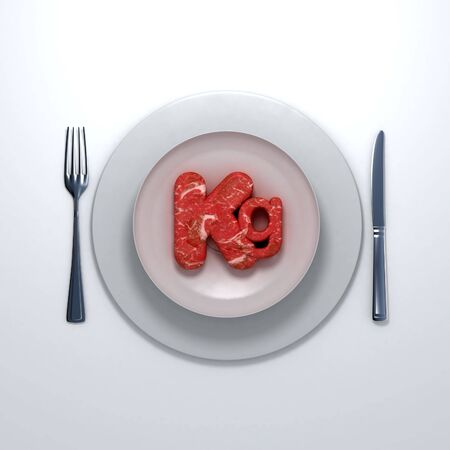 kilograms: kilogram symbol with meat texture on a white porcelain plate with a knife and a fork