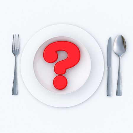 food questions: 3D-rendering of a red question mark served in a plate ready to eat