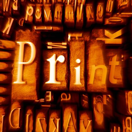 western script: Word print in print letter cases in orange shades
