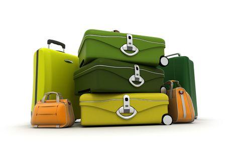 yellows: Baggage kit in green , yellows, and orange