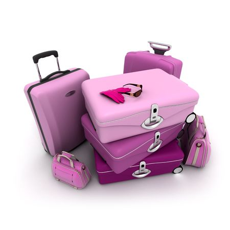pinks: Feminine looking baggage in pinks and purples with a woman�s gloves and sunglasses on top