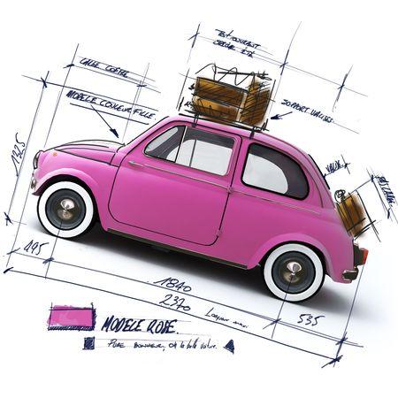 Retro rosa car design con scritto le note e le misure