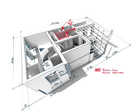 architect plans: Architecture 3D rendering of a house with scribbled notes and indications Stock Photo