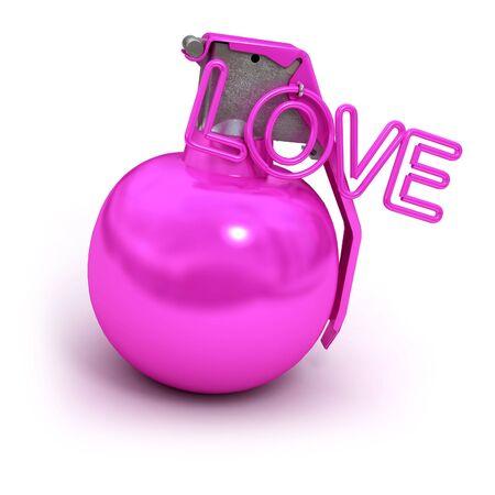 dangerous love: Bomba a mano rosa con la parola amore, invece di un anello