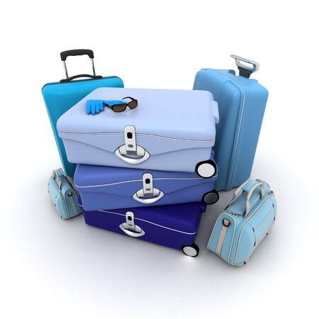 matching: Conjunto de equipaje en diferentes tonos de azul, con gafas y guantes de cuero se pongan en venta en la cima