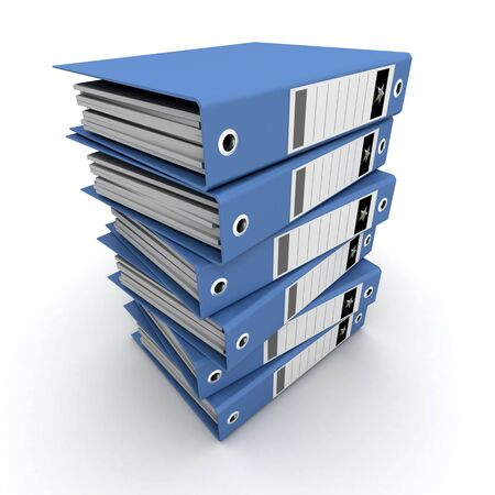 A pile of blue ring binders against a white background Stock Photo - 3074542