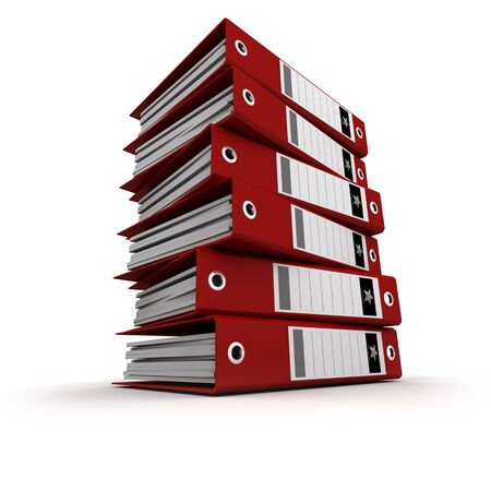 A pile of red ring binders against a white background Stock Photo - 3074541