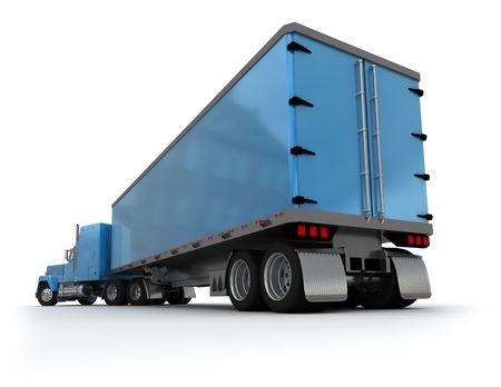 tarpaulin: Rear view of a big blue trailer truck against white background