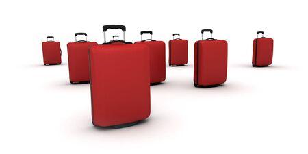 moltitudine: Moltitudine di valigie trolley contro uno sfondo bianco