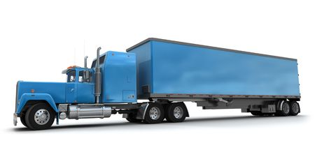 Lateral view of a big blue trailer truck against white background photo