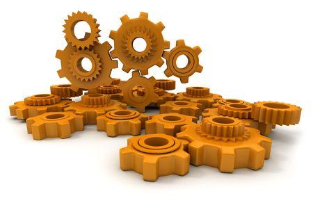 Mechanism made of plastic orange cogwheels photo