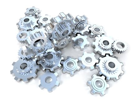 Mechanism made of silver colored cogwheels Stock Photo - 3170439