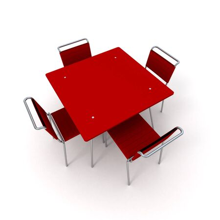 Table and chairs in metal and red plastic photo